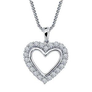 Round cut diamond heart style pendant solid white